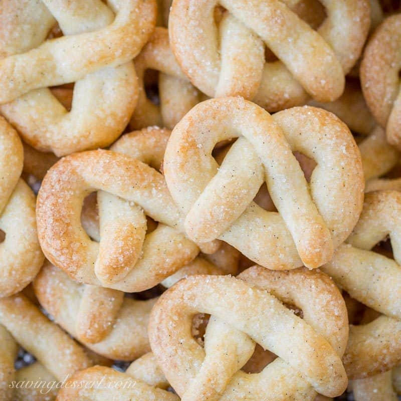 Vanilla Pretzel Cookies ~ a crisp little butter cookie loaded with vanilla beans and topped with sparkly coarse sugar in a fun festive shape!