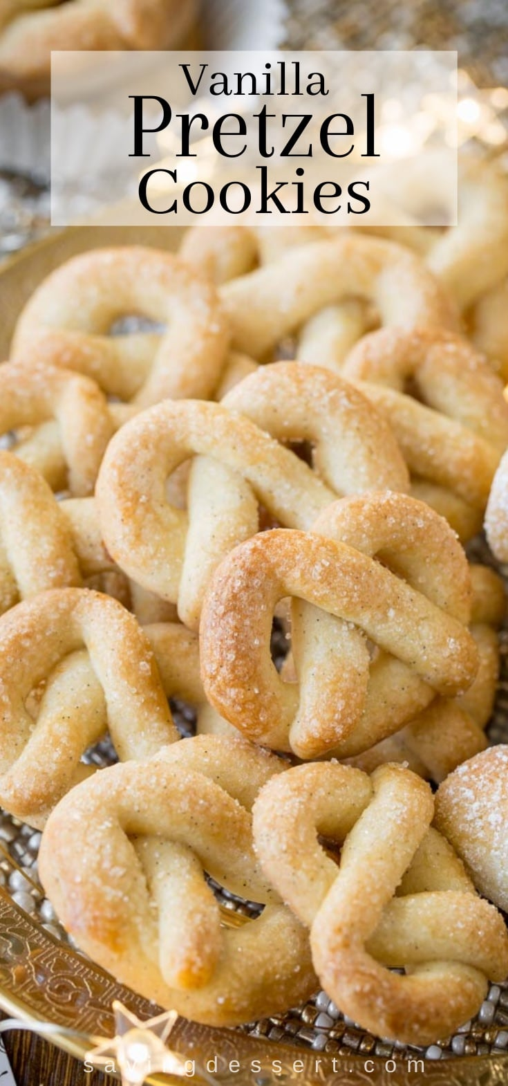 A plate filled with vanilla pretzel cookies