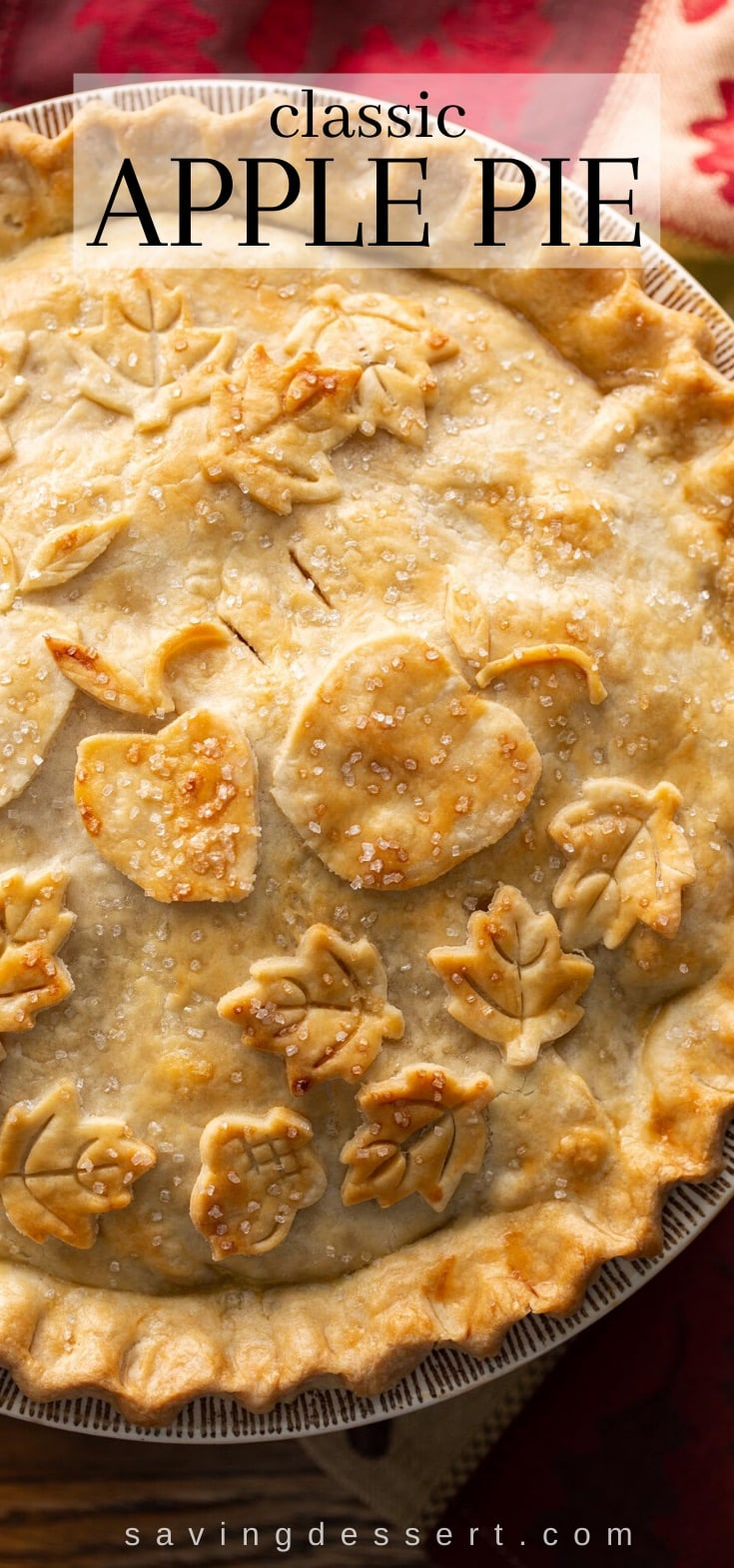 A close up of a classic double crust apple pie