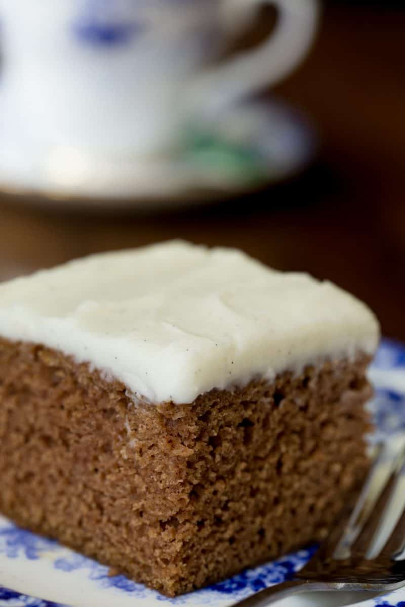 Easy, One Bowl Gingerbread Cake with Vanilla Bean Icing