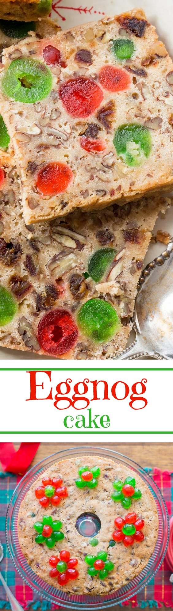 Mamma's Eggnog Cake - A delicious fruit cake loaded with candied cherries, dates, and nuts and soaked with bourbon. www.savingdessert.com