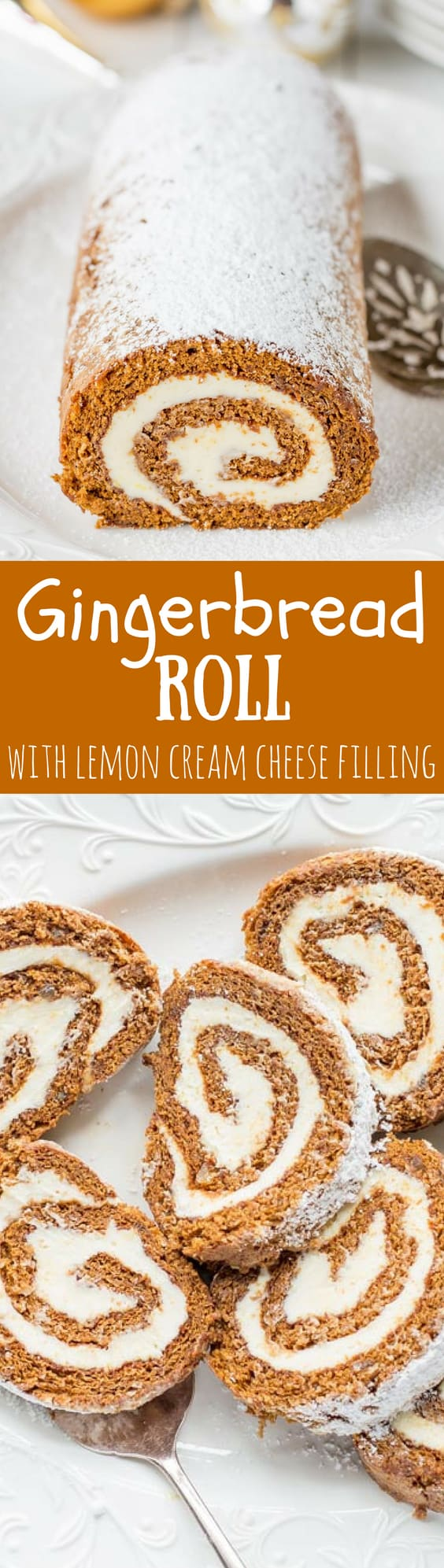 Gingerbread Roll with Lemon Cream Cheese Filling – a delightful dessert that's not too sweet, is loaded with warm, aromatic spices and flavored with just the right amount of molasses. www.savingdessert.com