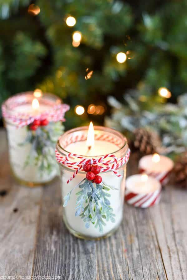 DIY Peppermint Mason Jar Candles ~ from A Pumpkin and a Princess