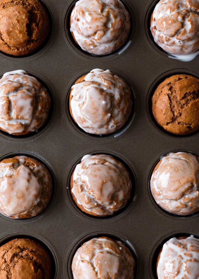 One Bowl Gingerbread Muffins with Maple Vanilla Glaze
