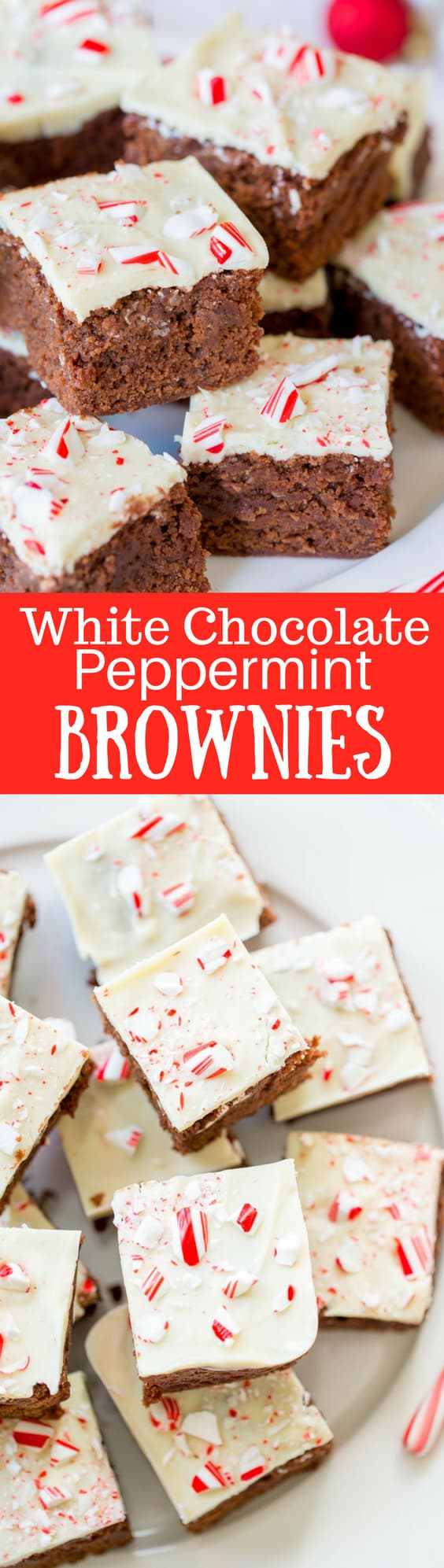 White Chocolate Peppermint Brownies - Lightly sweet, cakey chocolate brownies topped with melted white chocolate and crushed peppermints for a simple, easy and tasty dessert to help celebrate the season. www.savingdessert.com