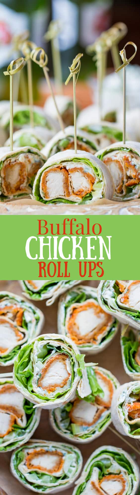 Buffalo Chicken Roll Up Appetizers ~ made with all-natural frozen chicken tenders tossed in hot sauce, then rolled up with a homemade blue cheese dip, celery, and crisp lettuce. blue cheese | buffalo chicken | appetizer | roll ups | wraps | www.savingdessert.com
