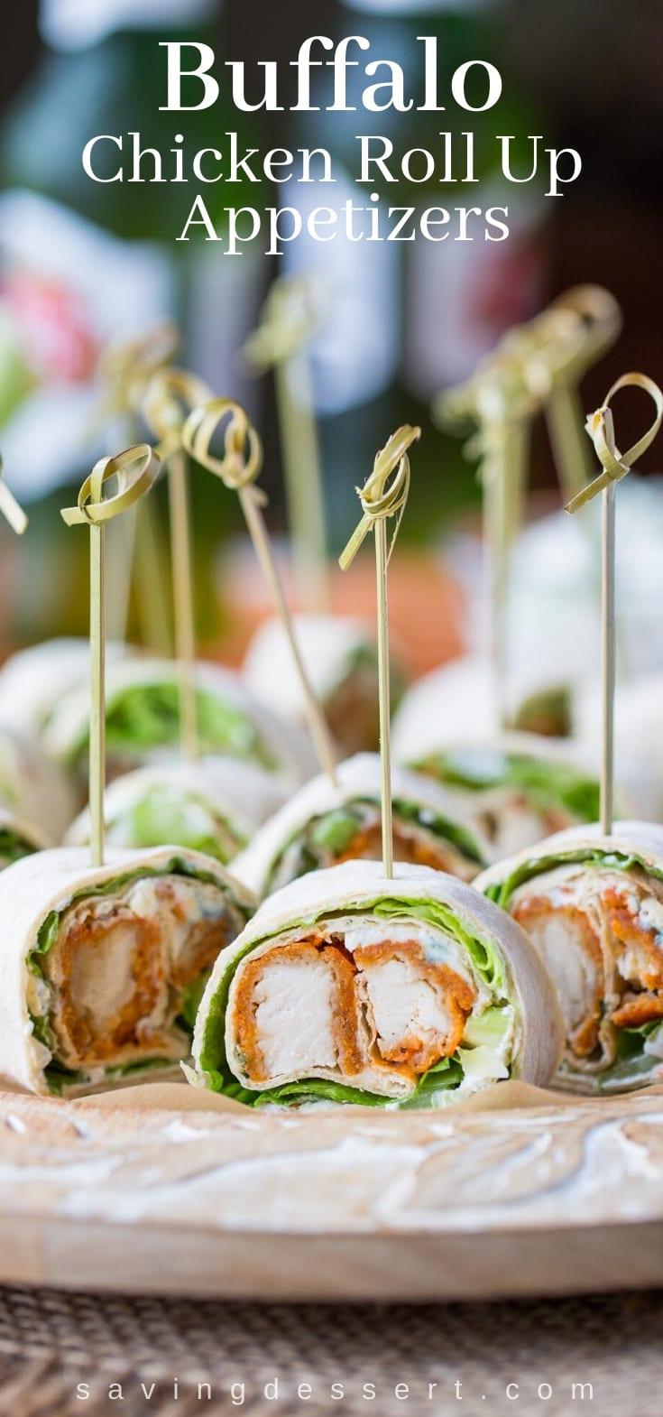 Buffalo Roll Up Appetizers on a platter