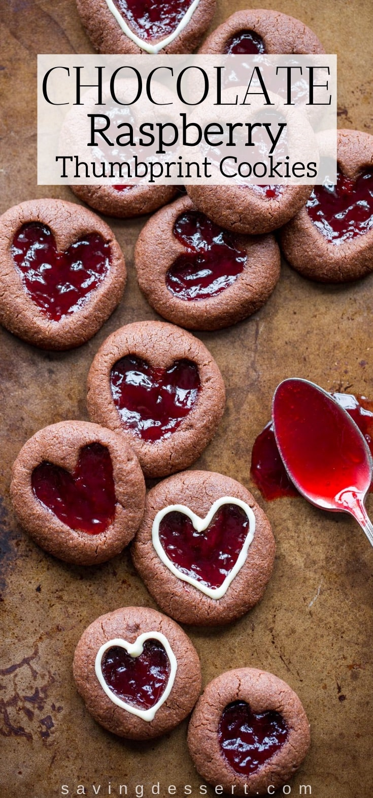 a tray with chocolate raspberry thumbprint cookies