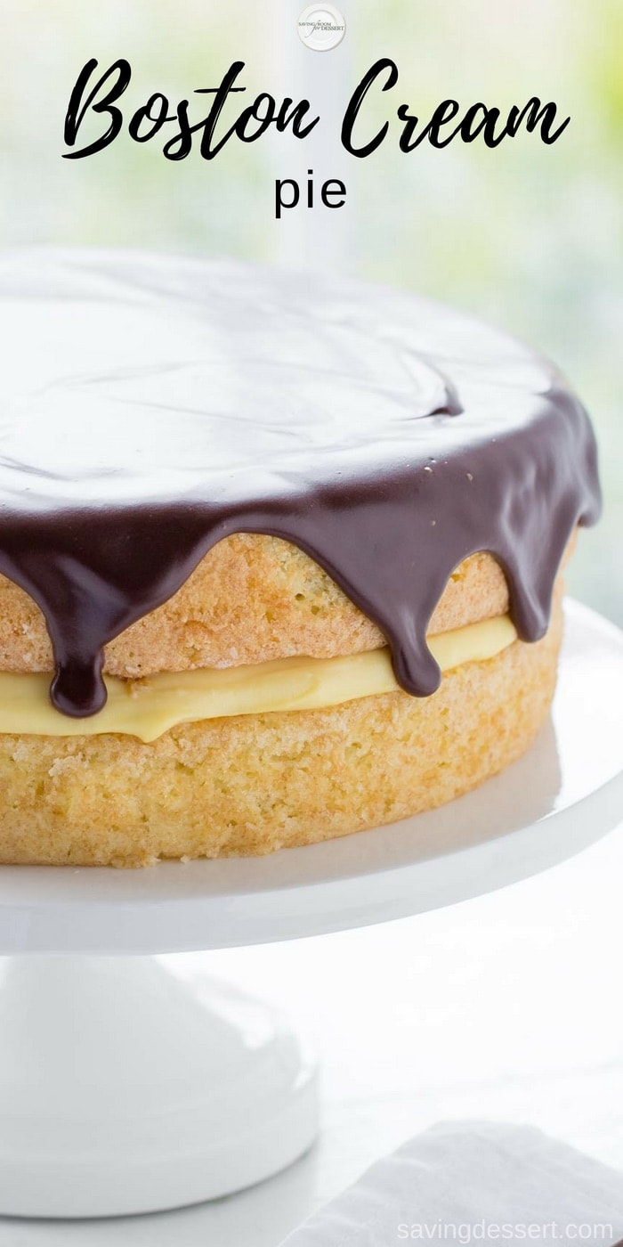Classic Boston Cream Pie ~ moist, tender sponge cake filled with a layer of rich, smooth vanilla pastry cream, then topped with a delicious bittersweet chocolate glaze. #bostoncreampie #cake #savingroomfordessert #bostonpie #creampie www.savingdessert.com