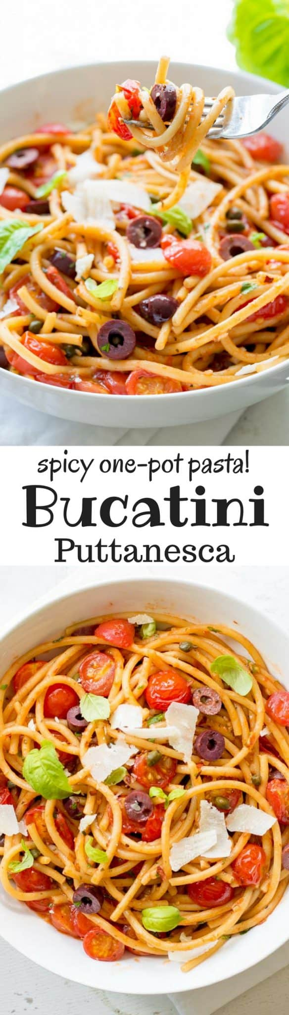 Bucatini Puttanesca ~ a deliciously easy one-pot pasta dish with a simple but zesty sauce and loads of fresh tomatoes, olives and capers. www.savingdessert.com anchovy | red pepper | bucatini pasta | spaghetti | cherry tomatoes | kalamata olives | capers | meatless monday