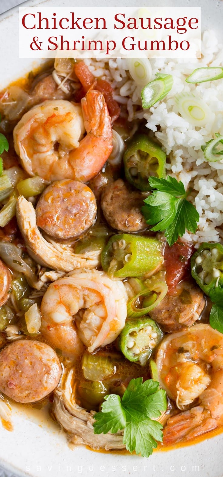 A bowl of chicken, sausage and shrimp gumbo over rice