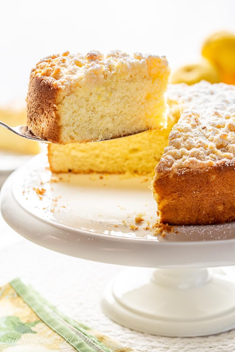 A slice of a single layer lemon cake