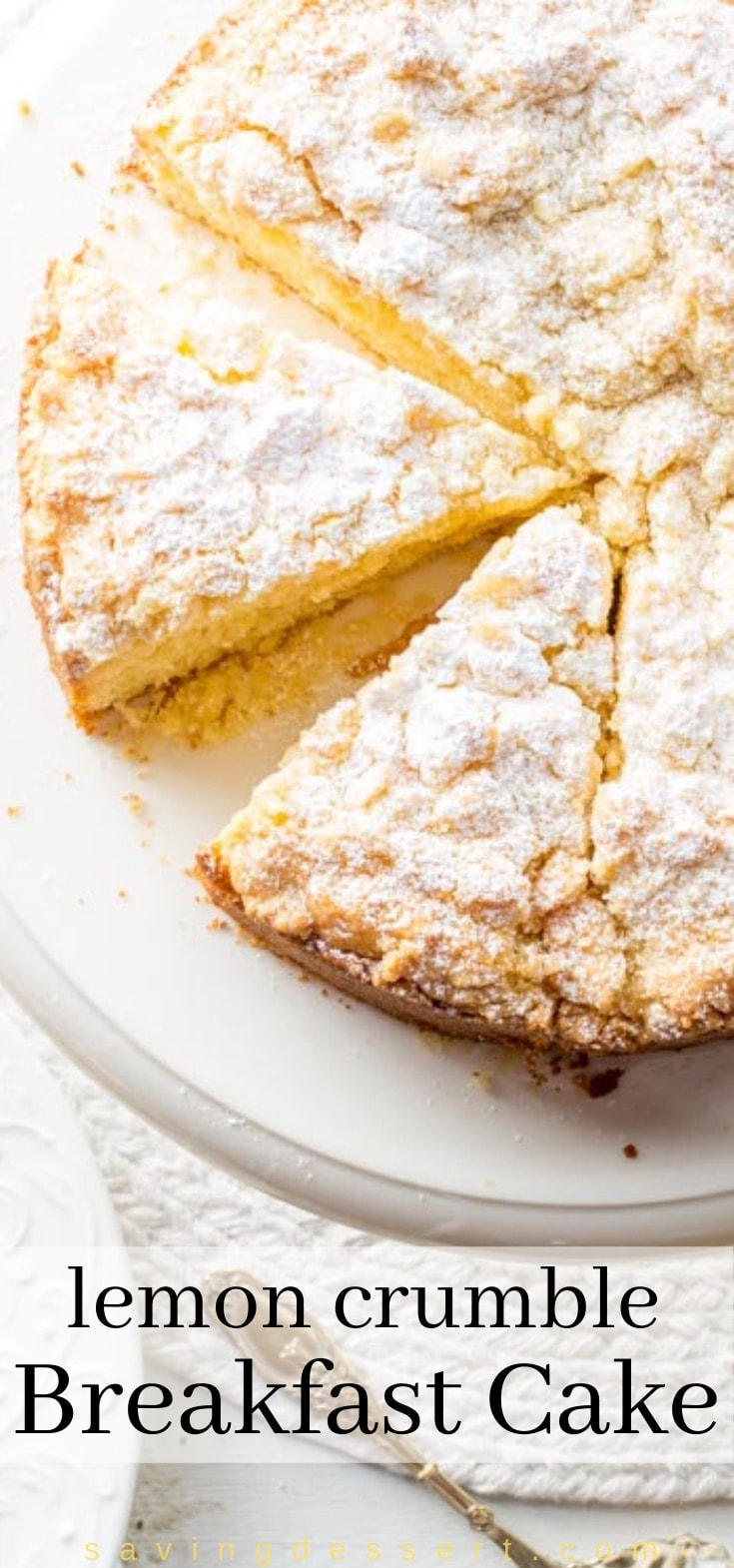 Lemon Crumble Breakfast Cake dusted with powdered sugar