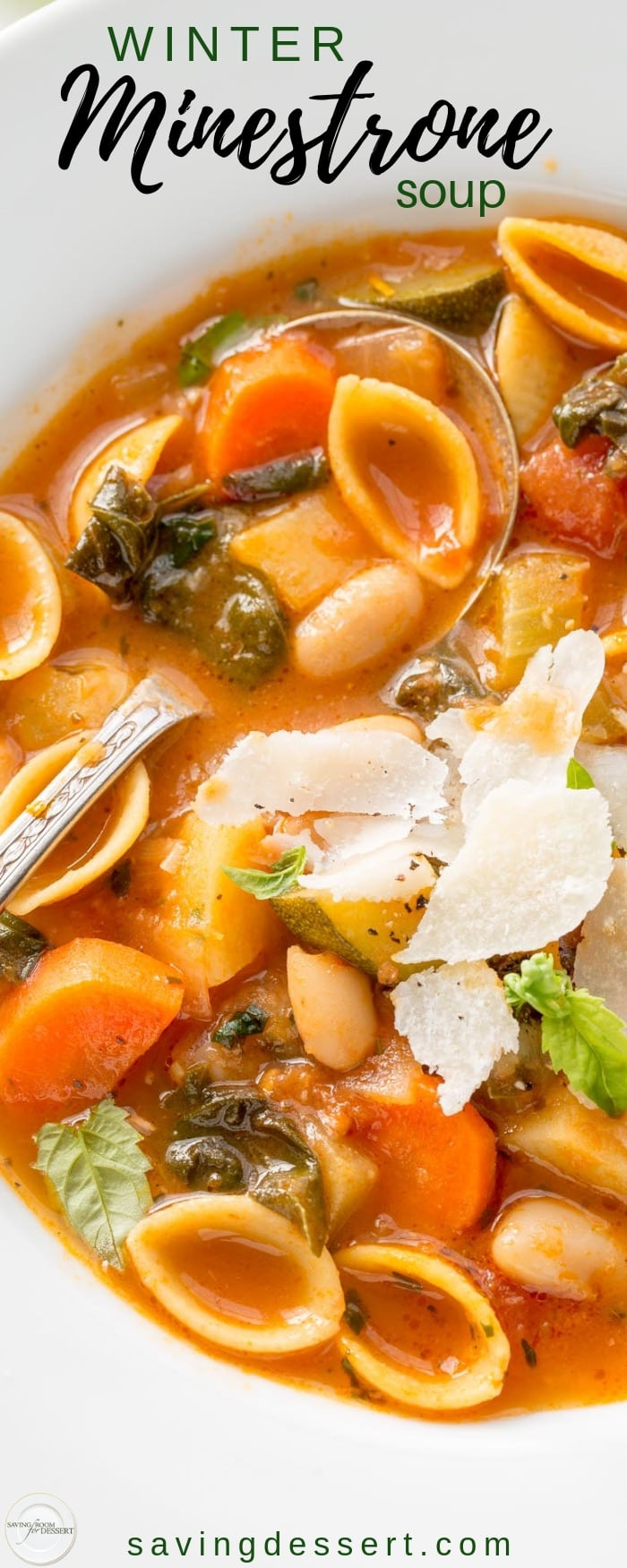 Winter Minestrone Soup ~ hearty, healthy and loaded with fresh seasonal vegetables. Featuring Chickapea Pasta, Swiss Chard, onion, carrots, celery, zucchini, potato and cannellini beans. Freezes beautifully! #savingroomfordessert #soup #minestrone #wintersoup #fallsoup #comfortfood #chickapeapasta #healthysoup