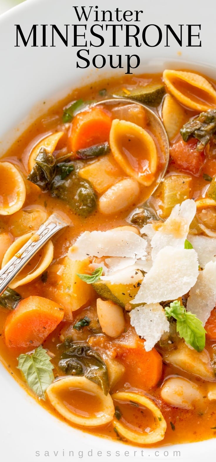 A closeup of a bowl of winter minestrone soup with pasta, beans, greens and herbs