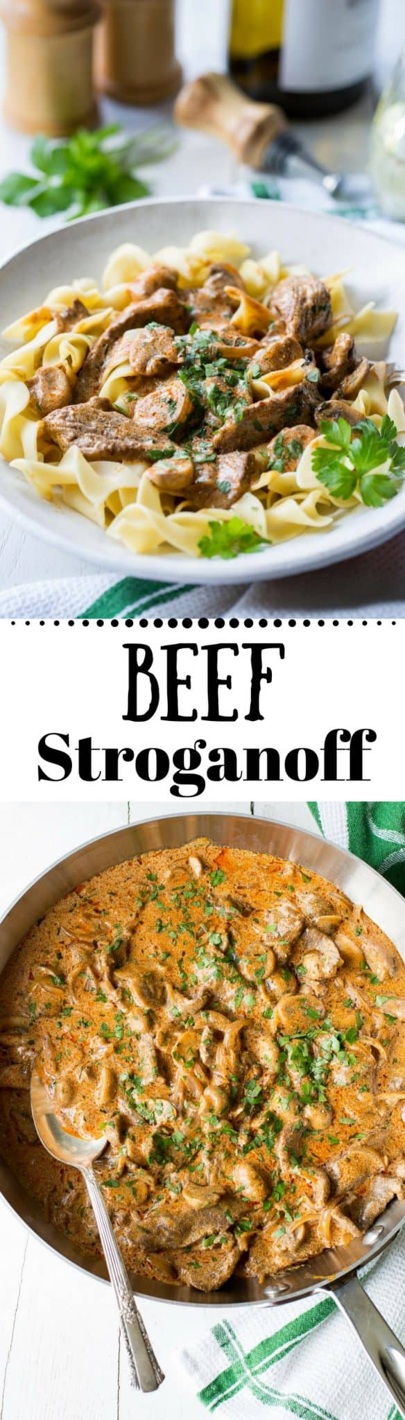 Beef Stroganoff Recipe - tender, quick-cooked strips of sirloin beef, sliced shallots, mushrooms and paprika are simmered in a flavorful sauce made of beef broth, dry white wine and sour cream. Serve over egg noodles, mashed potatoes or rice for an easy company worthy dish that comes together in under an hour. www.savingdessert.com