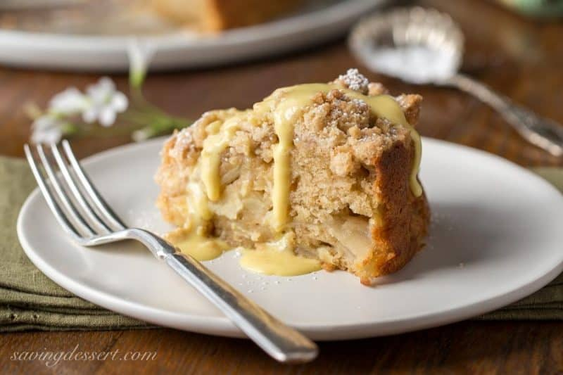 Irish Apple Crumble Cake With Apple Brandy Sauce Saving Room For