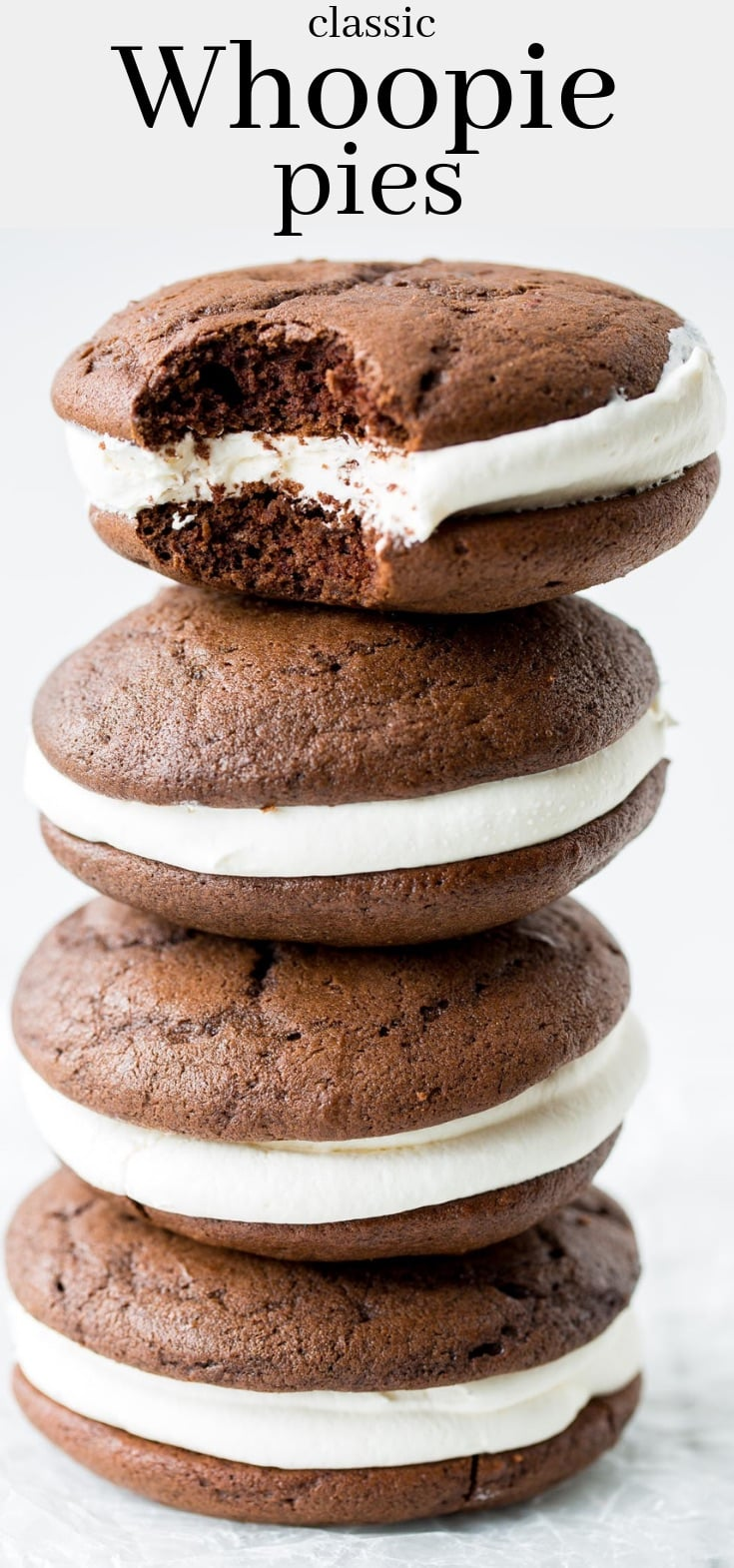Classic Whoopie Pies ~ Chocolate cake-like batter is baked into large, soft hamburger bun shaped cookies filled with a fluffy, sweet marshmallow frosting. #whoopiepie #chocolatecookie #cookie #softcookie #marshmallowcream #marshmallowfrosting #dessert #chocolatewhoopiepies