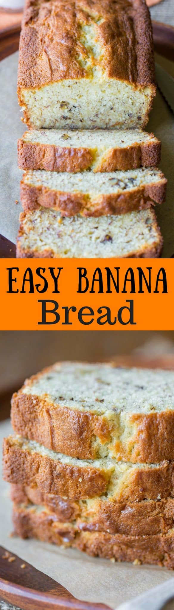Easy Banana Bread Recipe ~ delicious and simple, and perhaps the best banana bread recipe around!  Moist and tender cake loaded with banana flavor and chopped walnuts.  Try a slice with cinnamon cream cheese - oh my goodness!  www.savingdessert.com