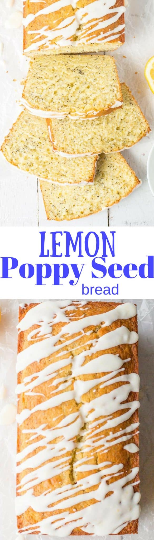 Lemon Poppy Seed Bread ~ a super easy quick bread packed with poppy seeds and lemon then topped with a simple lemon glaze. A delightful and delicious loaf cake great served with breakfast, brunch, afternoon tea or even dessert. www.savingdessert.com