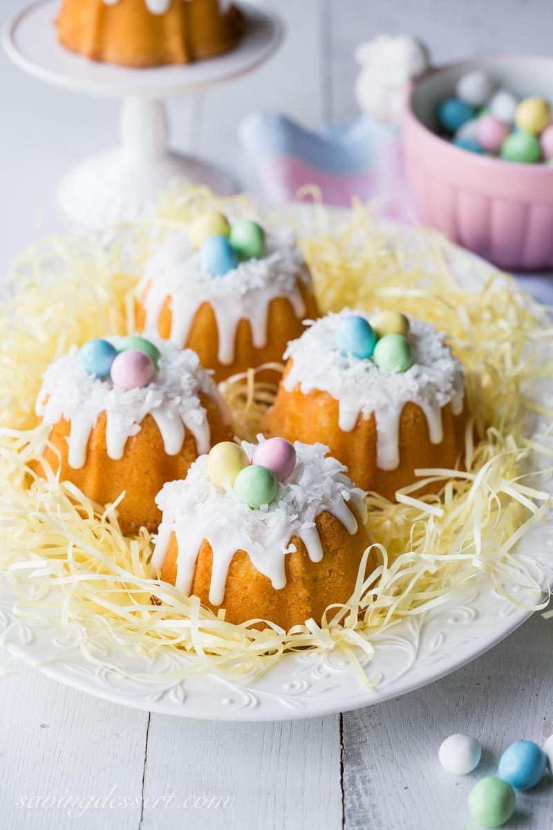 Mini Coconut Bunt cakes with mini candied eggs in the middle