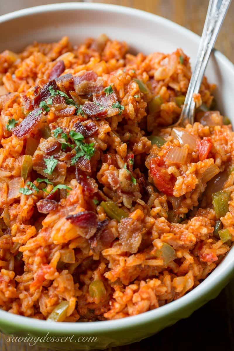 A bowl of Spanish Rice with bacon and peppers