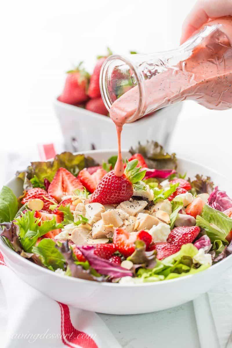 Strawberry Salad with Chicken and Poppy Seed Dressing ~ savingdessert.com