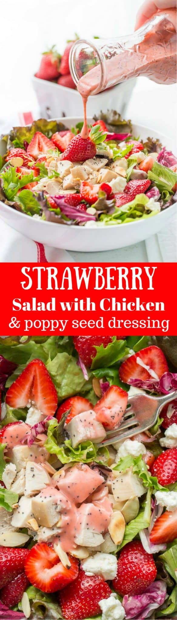 Simple and light, and deliciously refreshing ~ Strawberry Salad with Chicken and Poppy Seed Dressing is a great main course salad with an amazing combination of flavors. From the tender chunks of chicken and the creamy bite of feta cheese, to the toasted sliced almonds and poppy seeds, every bite will delight your senses! www.savingdessert.com