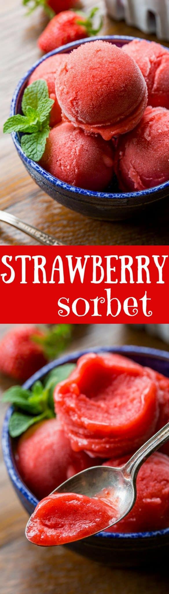 Easy Strawberry Sorbet Recipe - Saving Room for Dessert