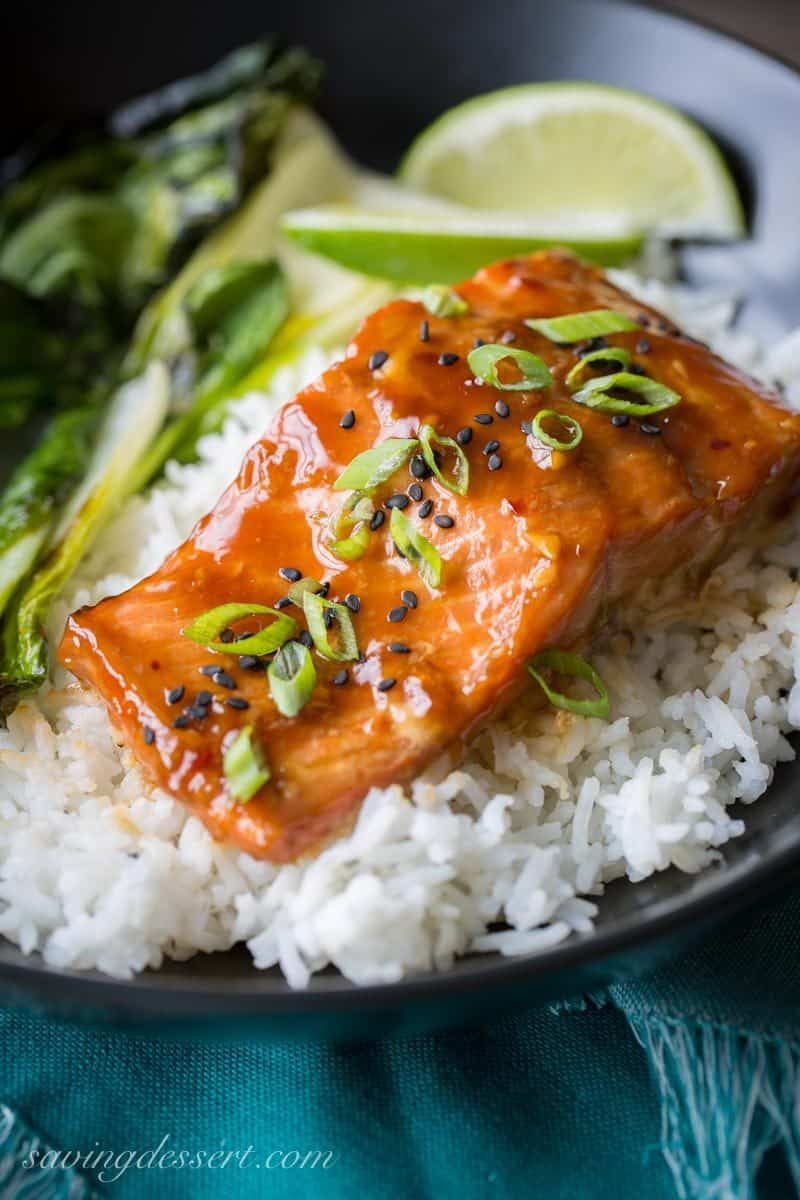 Teriyaki Salmon Rice Bowls with roasted Bok Choy ~ a super easy, quick and delicious dinner with terrific (almost intense) flavor from the simple homemade teriyaki sauce. Once you try this recipe, I bet you never buy pre-made teriyaki sauce again! www.savingdessert.com