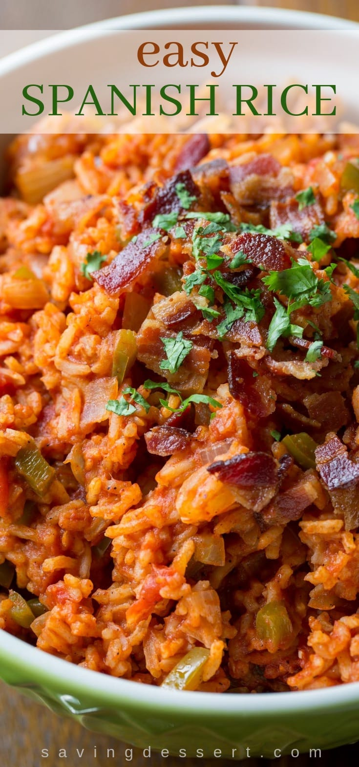 Easy Spanish Rice Recipe ~ Sweet onion and green bell pepper compliment the tomatoes and spices in this tasty Mexican rice dish. #mexicanrice, #spanishrice, #cincodemayo #rice #tomatoesandrice #mexicanside #easyspanishrice