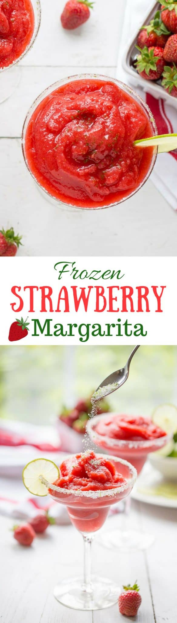Frozen Strawberry Margarita ~ a delicious cross between a sorbet and a Margarita, and it's almost good enough to be called a dessert! www.savingdessert.com