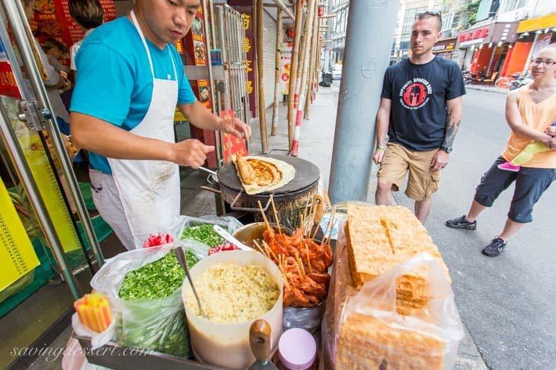 Chinese Street Food in Shanghai ~ Egg Pancake Cart www.savingdessert.com