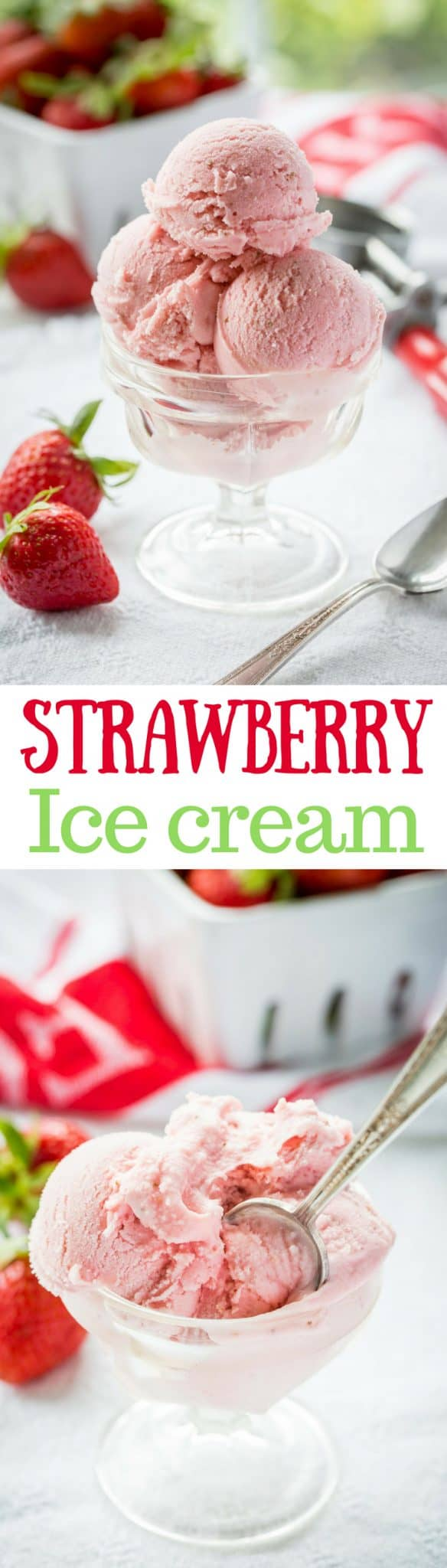 Fresh Strawberry Ice Cream ~ creamy and smooth, with tart (not sour) undertones that you'd expect from a good ripe strawberry. With a touch of Grand Marnier, buttermilk and mascarpone cheese, the richness shines through in this eggless, dreamy, frozen treat! www.savingdessert.com