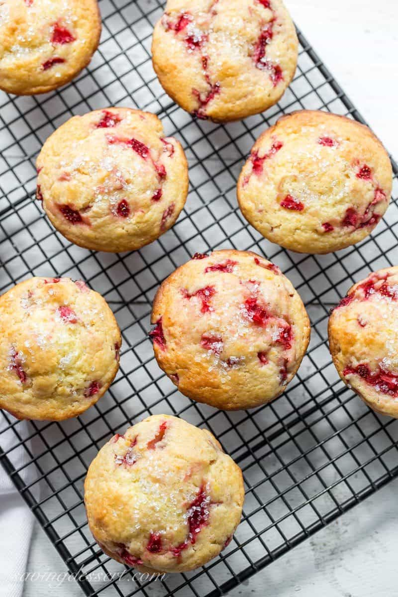 Orange Strawberry Muffins with light sugared top