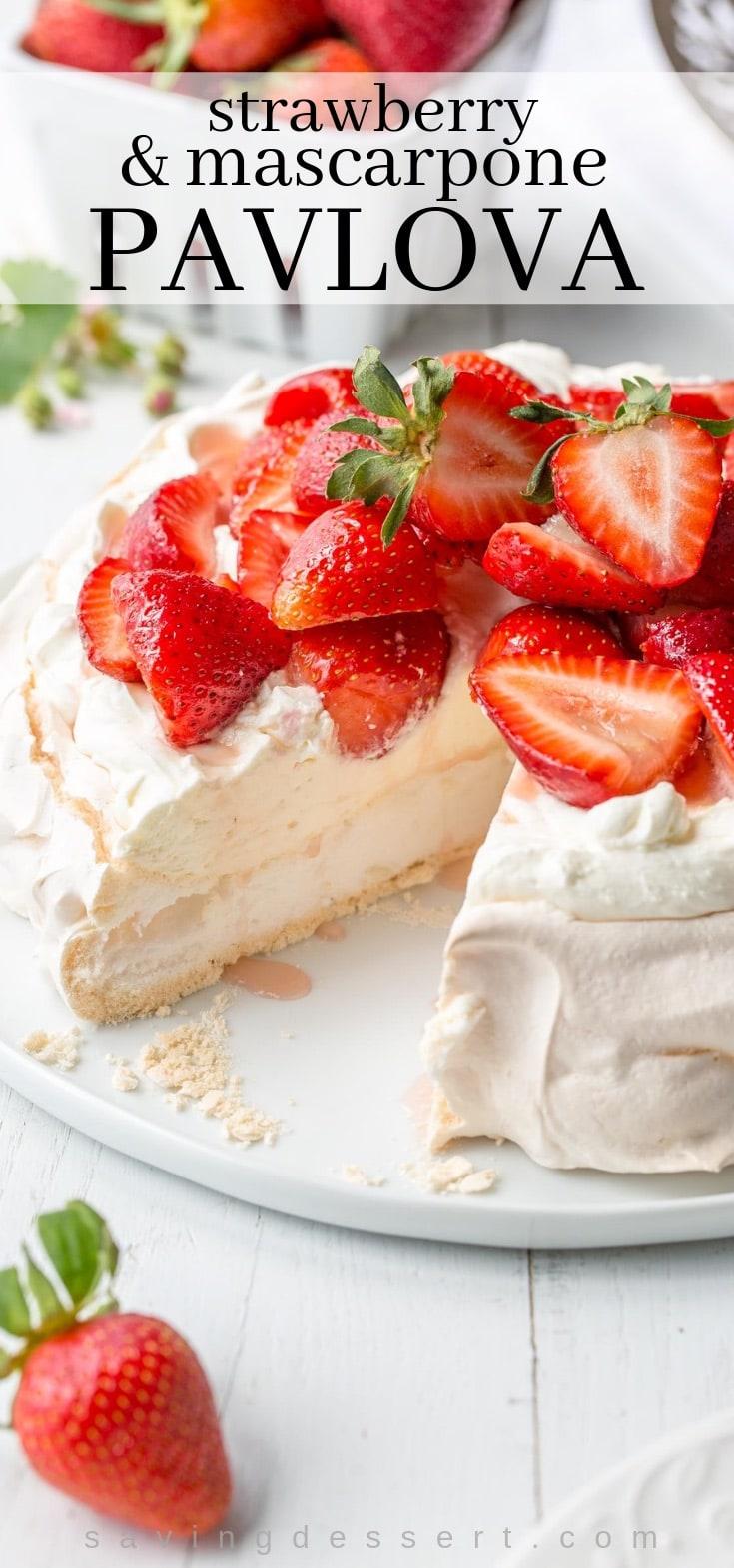 A strawberry pavlova topped with mascarpone cream