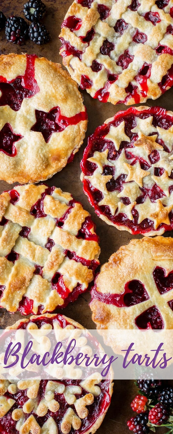 Blackberry Tarts ~ Garden to Table - juicy, ripe blackberries nestled in a buttery, flaky crust for an iconic, all American summer dessert. www.savingdessert.com #savingroomfordessert #blackberry #tarts #pie #blackberrytart #summerdessert #summerpie #easytarts