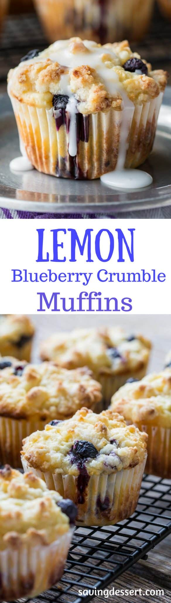Lemon Blueberry Muffins with a Lemon Crumble Topping ~ Plump, ripe blueberries and tart lemon juice are the stars in these wonderfully moist, sour cream muffins. Not overly sweet, these muffins are terrific with or without the bright lemon glaze. www.savingdessert.com