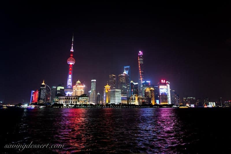 The Bund at night Shanghai China www.savingdessert.com