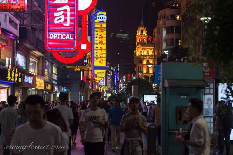 Nanjing Road at night - Shanghai China www.savingdessert.com