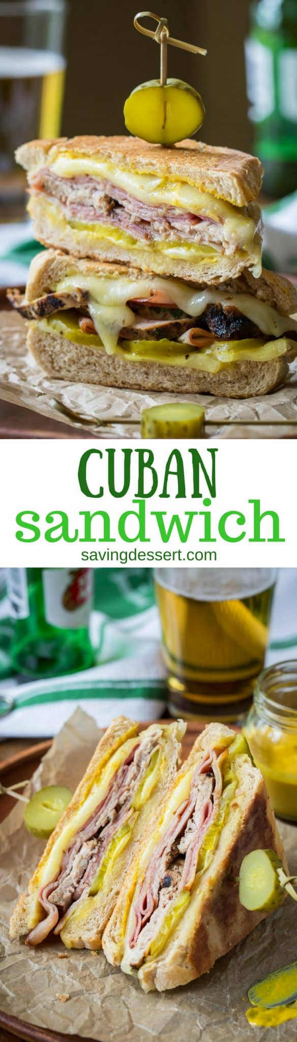 The Cuban Sandwich (Cubano) ~ a hearty and delicious combination of sweet ham, juicy tender pork, melted Swiss cheese, dill pickles with a nice bite from a slathering of yellow mustard. www.savingdessert.com