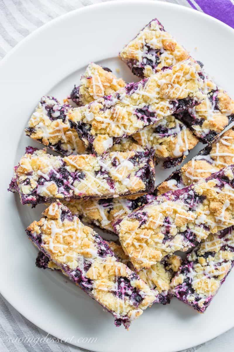 Easy Blueberry Crumb Bars on a plate