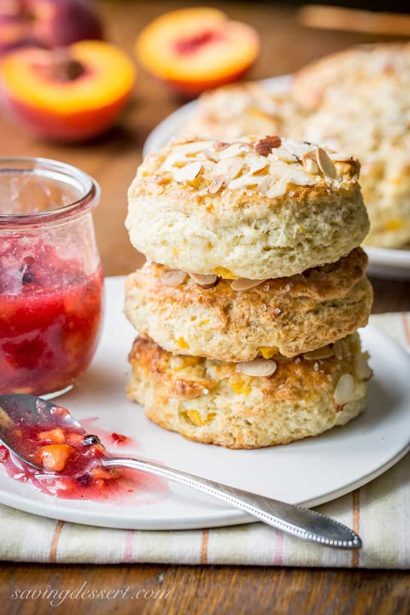 Almond Peach Scones ~ made with fresh diced peaches, grated almond paste and amazing buttermilk, these scones are tender and delicious and super easy to make too! www.savingdessert.com