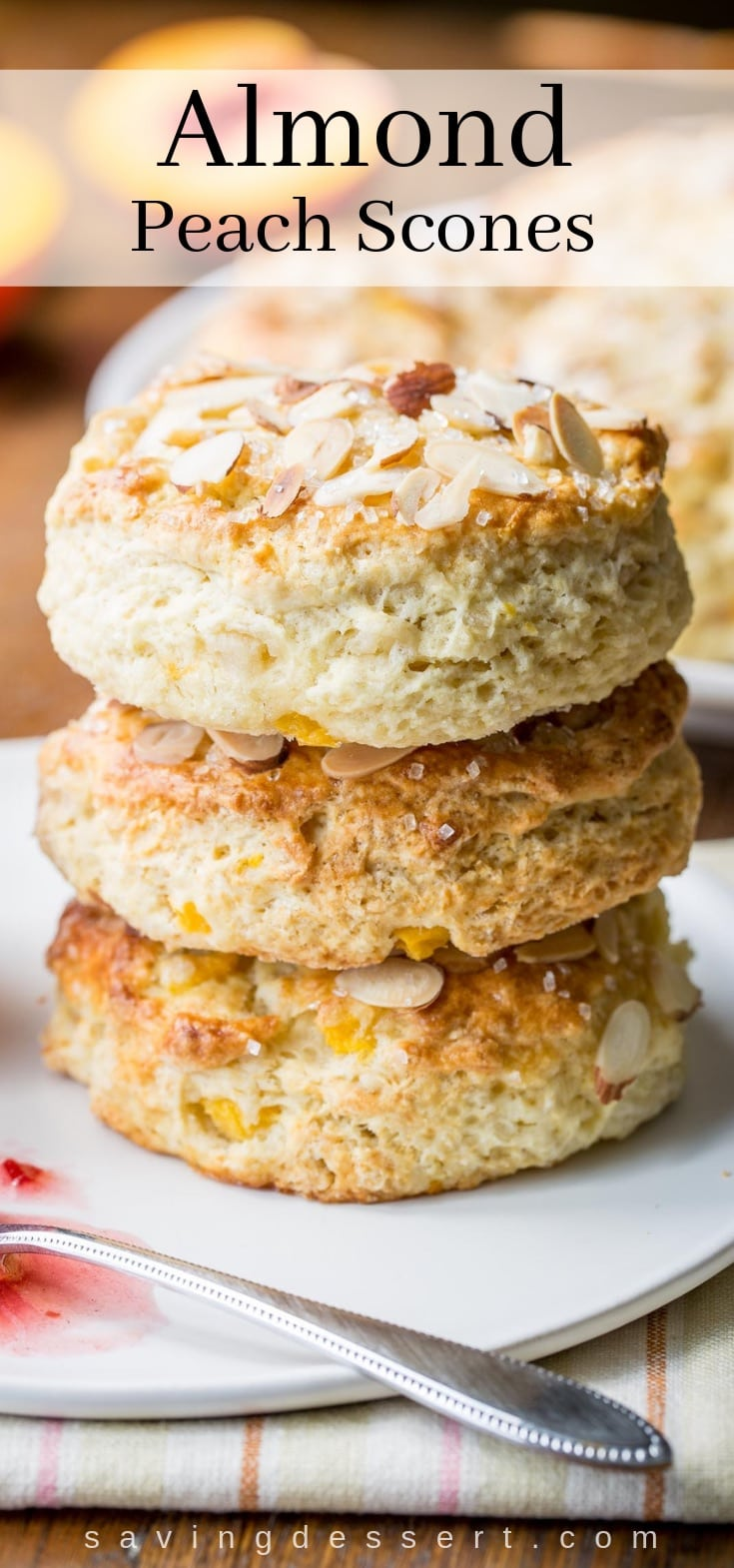 A stack of fresh almond peach scones