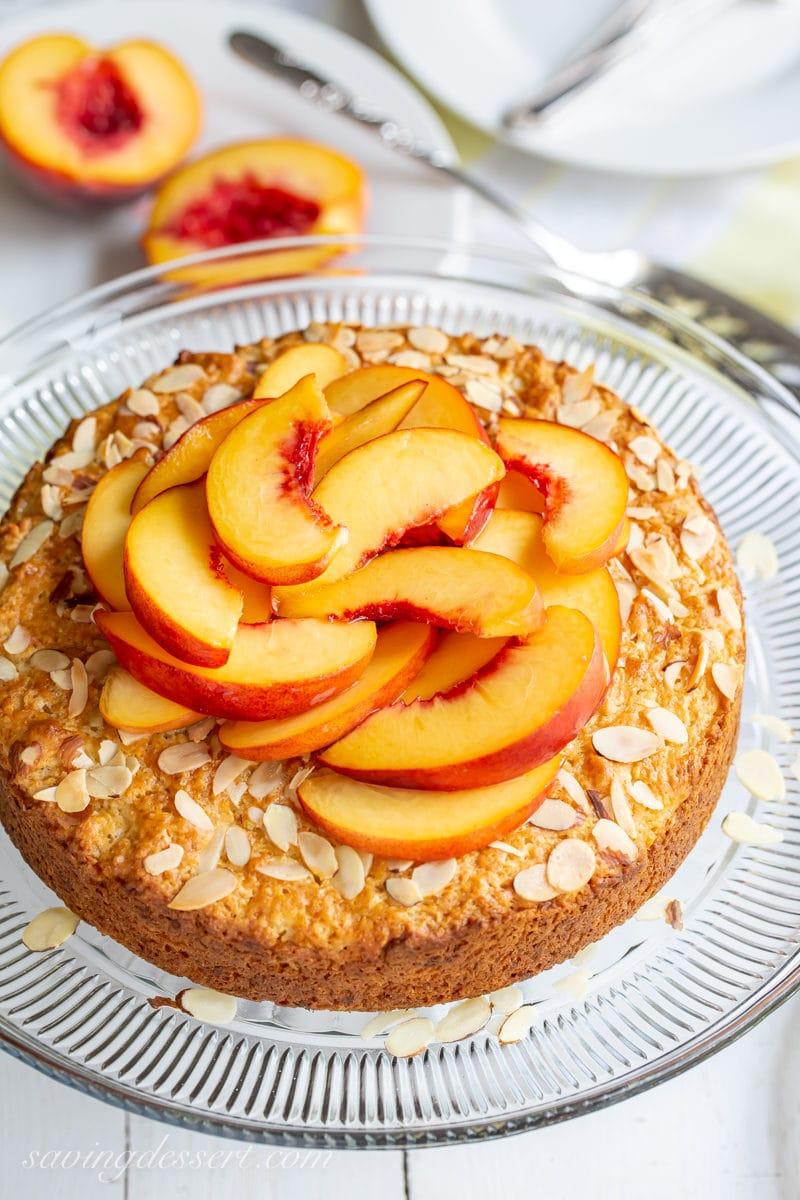 A simple fresh peach and almond shortcake from savingdessert.com