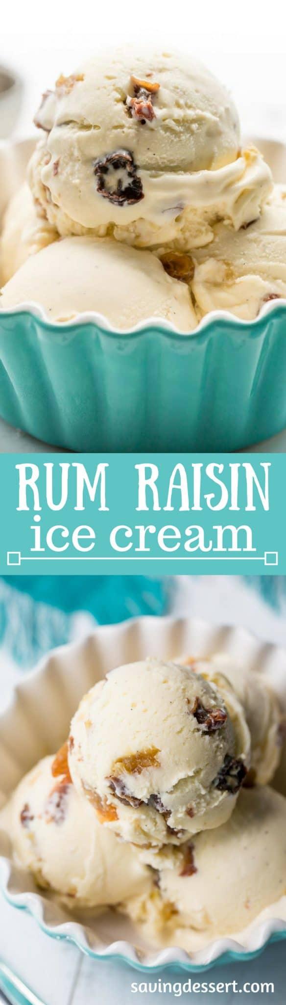Rum Raisin Ice Cream ~ a classic summer treat with plump, rum soaked raisins and a rich custard base loaded with vanilla beans. www.savingdessert.com
