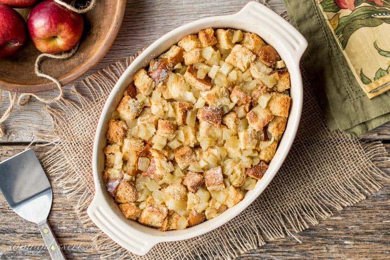 A casserole dish filled with Apple Bread Pudding