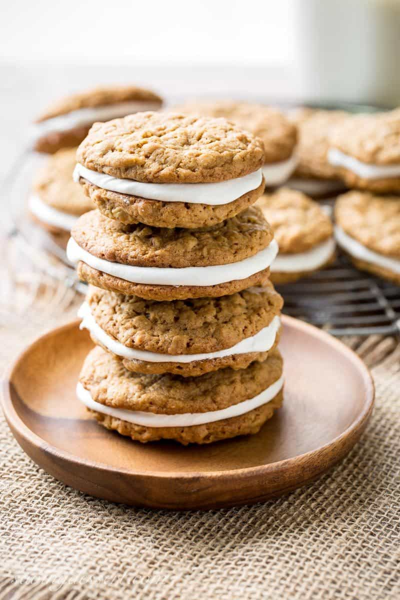 A stack of oatmeal cream pies with a marshmallow cream filling