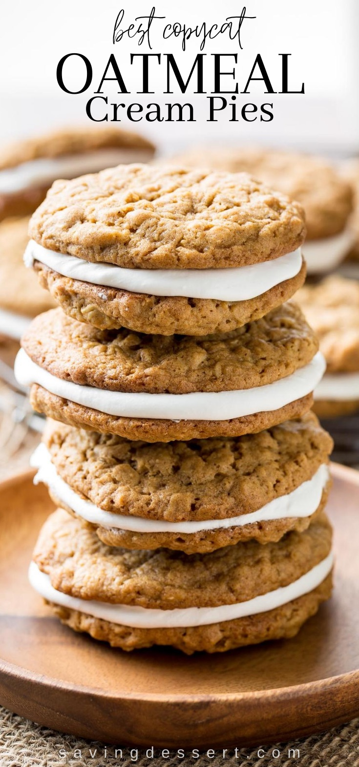 A stack of homemade Oatmeal Cream Pie Cookies