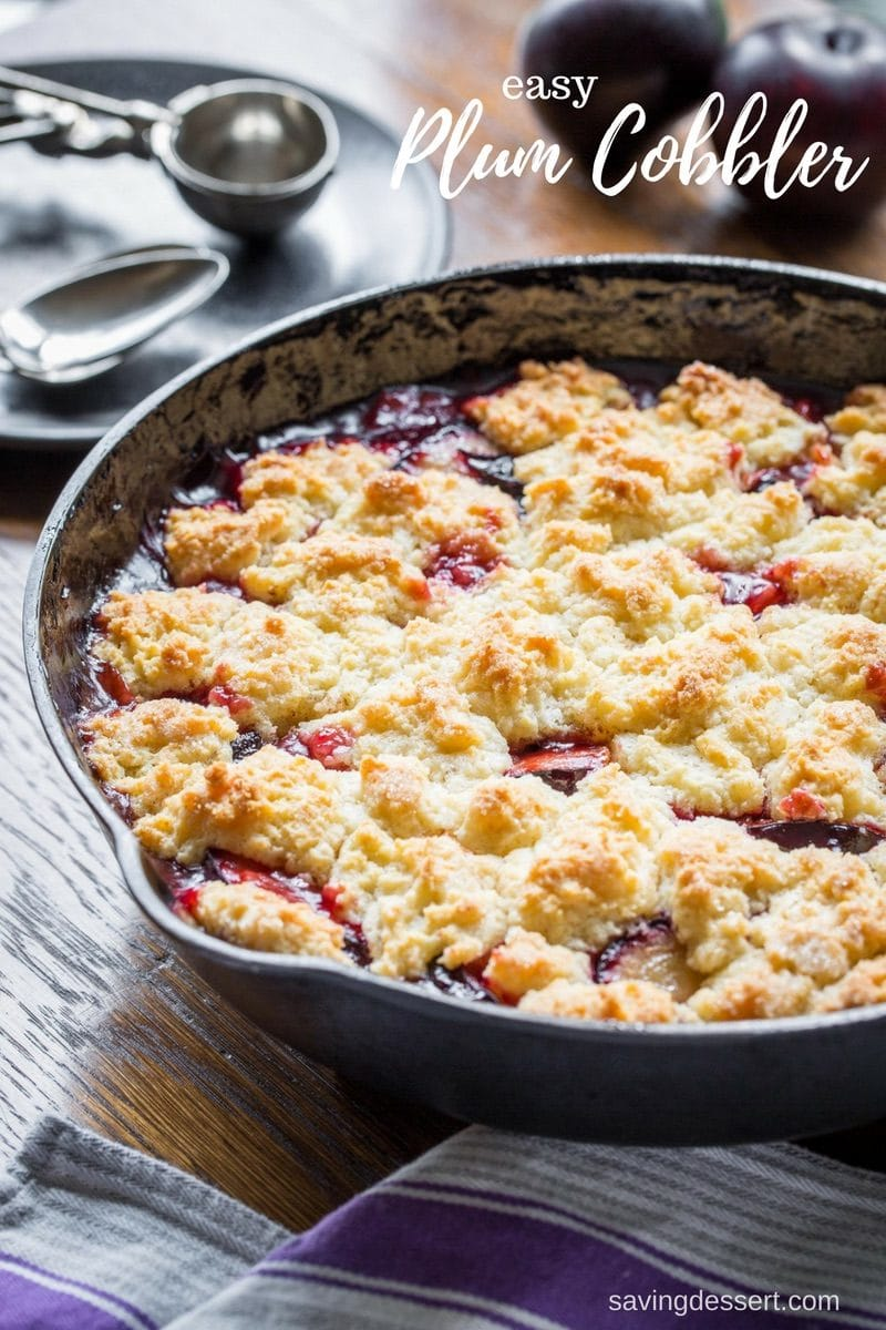 A skillet filled with a fruit cobbler